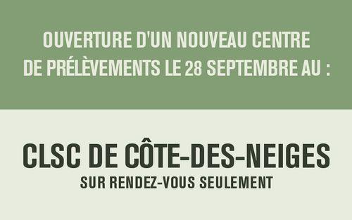 Dès le 28 septembre : Nouveau Centre de prélèvements au CLSC Côte-des-Neiges