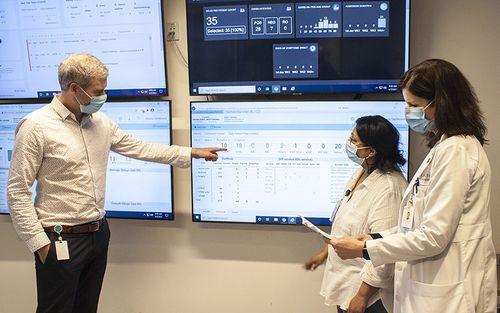 Dans le Centre de commandement à l'HGJ, des leaders seniors du CIUSSS examinent les données les plus récentes sur les endroits où les lits sont utilisés au sein de l'Hôpital et la manière dont ils le sont.