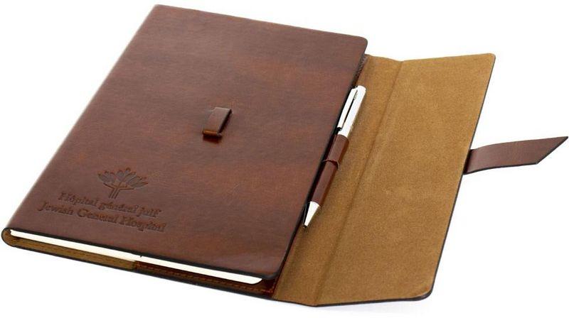 Bloc notes relié en cuir + stylo - brun - HGJ - 25$