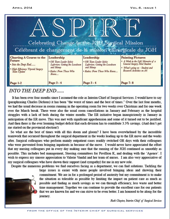 Jewish General Hospital | Aspire Newsletter