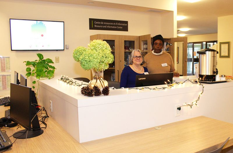 Our Community Resource and Information Centre with two volunteers