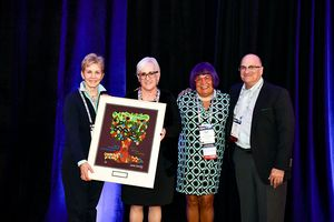 From left to right, Molly Forrest, CEO of the LA Jewish Home, Barbra Gold, Director of SAPA for CIUSSS West-Central Montreal, Karen Flam, Chair of the AJAS Awards committee, Don Shulman, Chair of AJAS