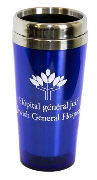 Travel mug - blue - JGH -  $12