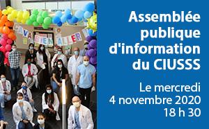 Assemblée publique d'information  du CIUSSS Le mercredi 4 novembre 2020 18 h 30