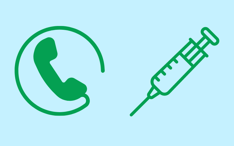 telephone and needle for vaccination