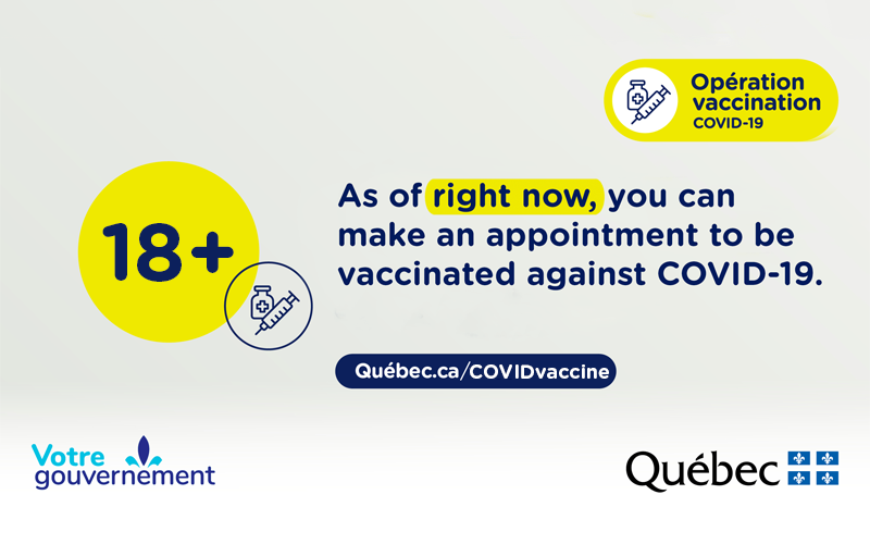18+ As of right now, you can make an appointment to be vaccinated against COVID-19.