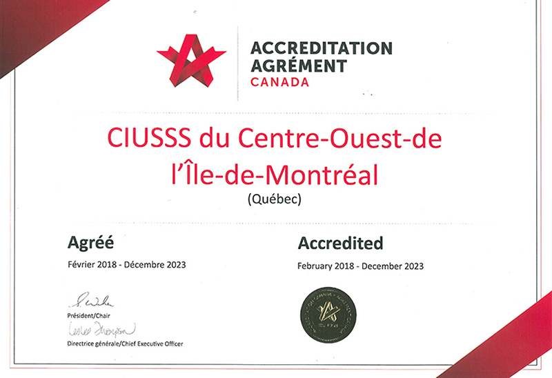 CIUSSS West-Central Montreal has earned a nearly perfect score in a preliminary report from Accreditation Canada.