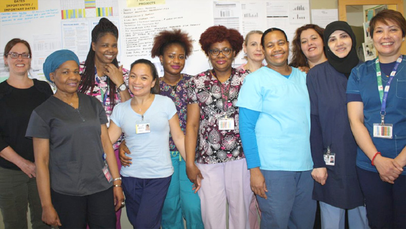 Clinician Jodie Little (far left) and the nursing team on Kastner 3 reported a successful experience following the first phase of the OPUS-AP project.